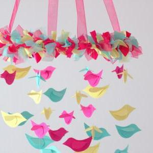 Bird Mobile - Pink, Yellow, Aqua fo..