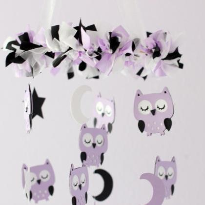 Owl Nursery Mobile in Lavender, Black & White