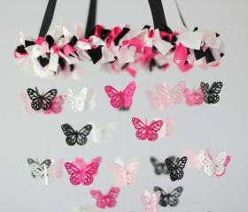 Pink, Black & White Butterfly Nursery Chandelier