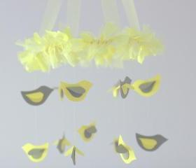 SMALL Yellow & Gray Bird Nursery Mobile