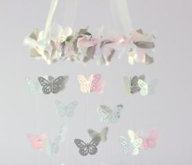 SMALL Butterfly Mobile- Light Pink, Gray & White