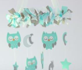 SMALL Owl Nursery Mobile in Aqua, Gray & White