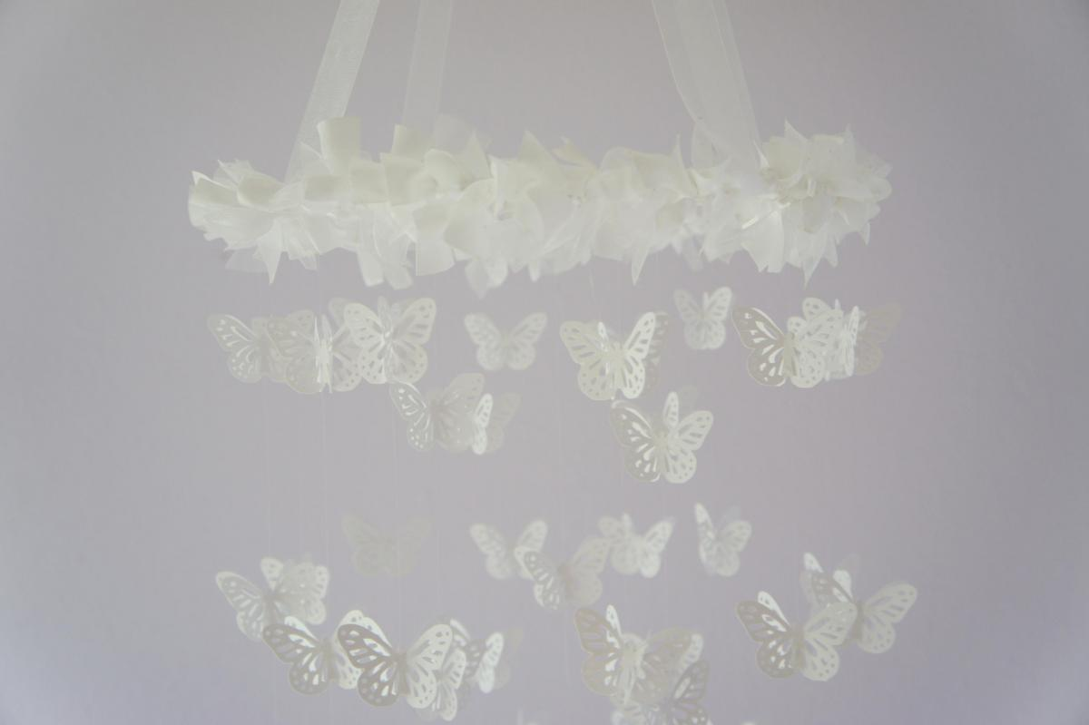 White Butterfly Mobile- Photography Prop, Baby Shower Gift
