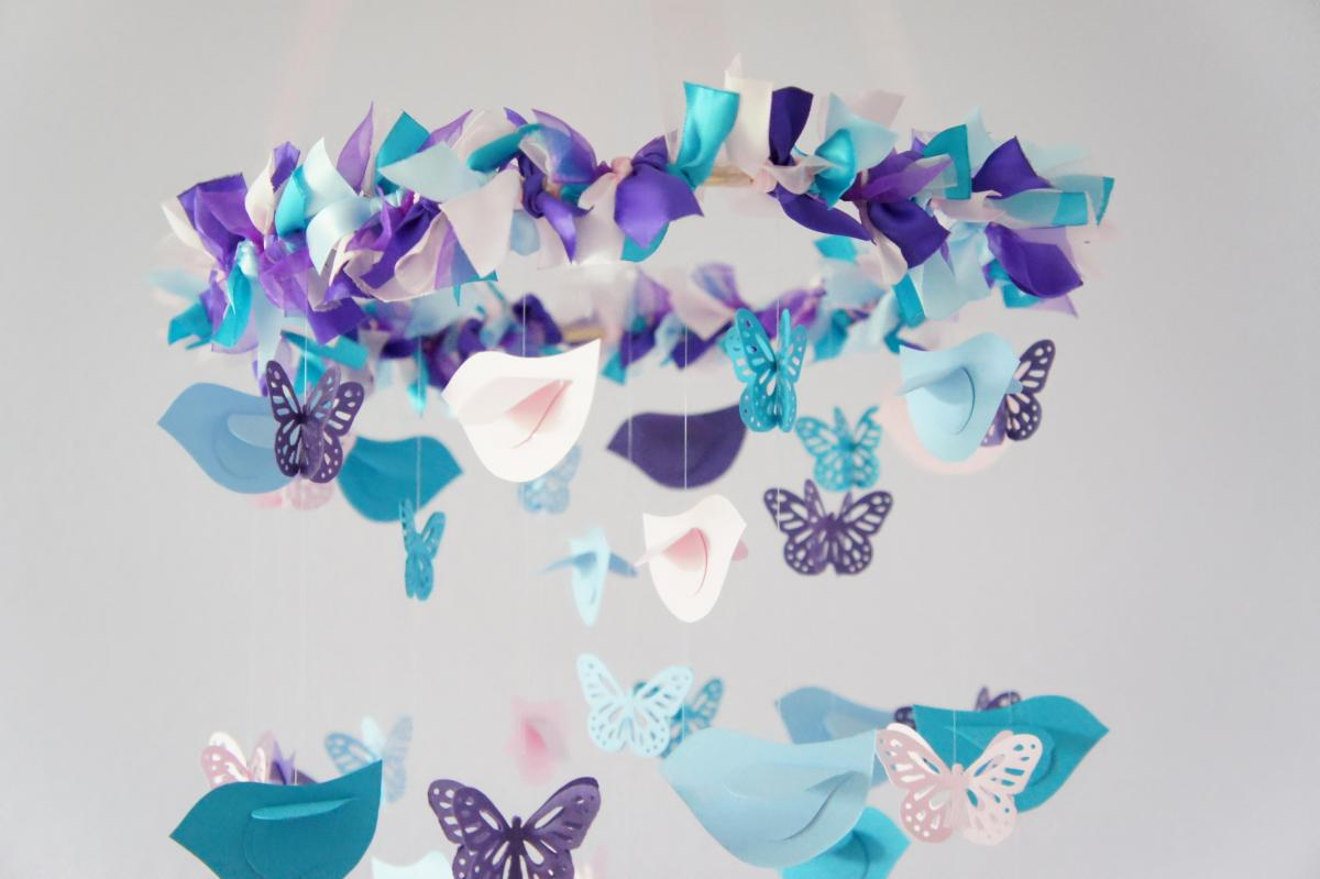 Nursery mobile blue pink purple birds butterflies for Baby shower decoration butterfly