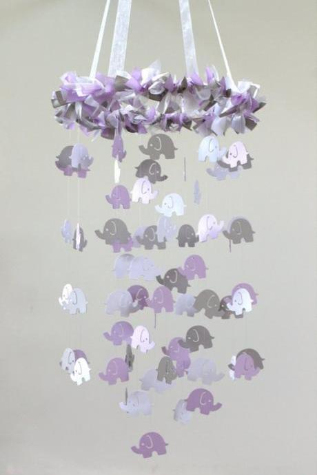 Baby Mobile- Lavender Gray Elephant Mobile, Baby Shower Gift, Photographer Prop