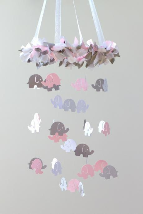 SMALL Elephant Nursery Mobile in Light Pink, Gray & White