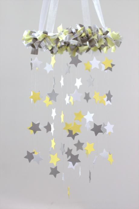 Yellow & Gray Star Nursery Mobile