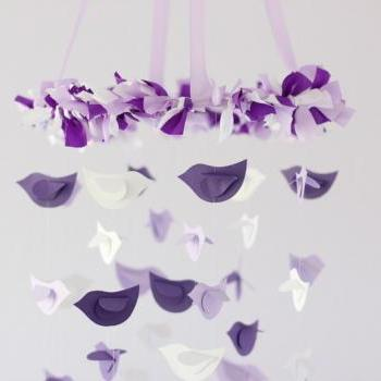 Purple, Lavender & White Bird Nursery Mobile