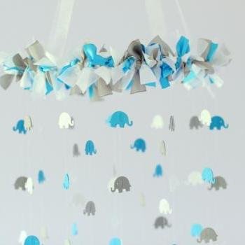 Blue, Gray & White Elephant Nursery Mobile