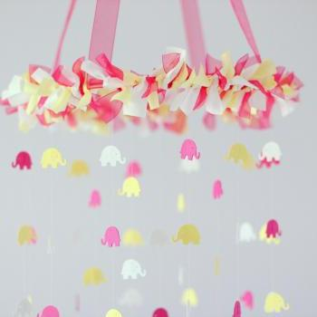 Elephant Crib Mobile- Pink, Yellow, &amp; White Nursery Mobile, Baby Shower Gift, Photographer Prop