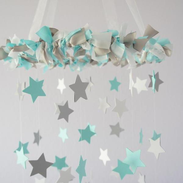 Aqua, White & Gray Nursery Star Mobile