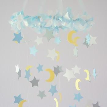 Moon & Stars Nursery Mobile- Nursery Decor, Baby Shower Decor, Baby Gift