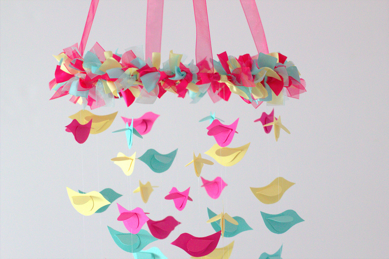Bird mobile pink yellow aqua for baby nursery decor on for Bird mobiles for nursery