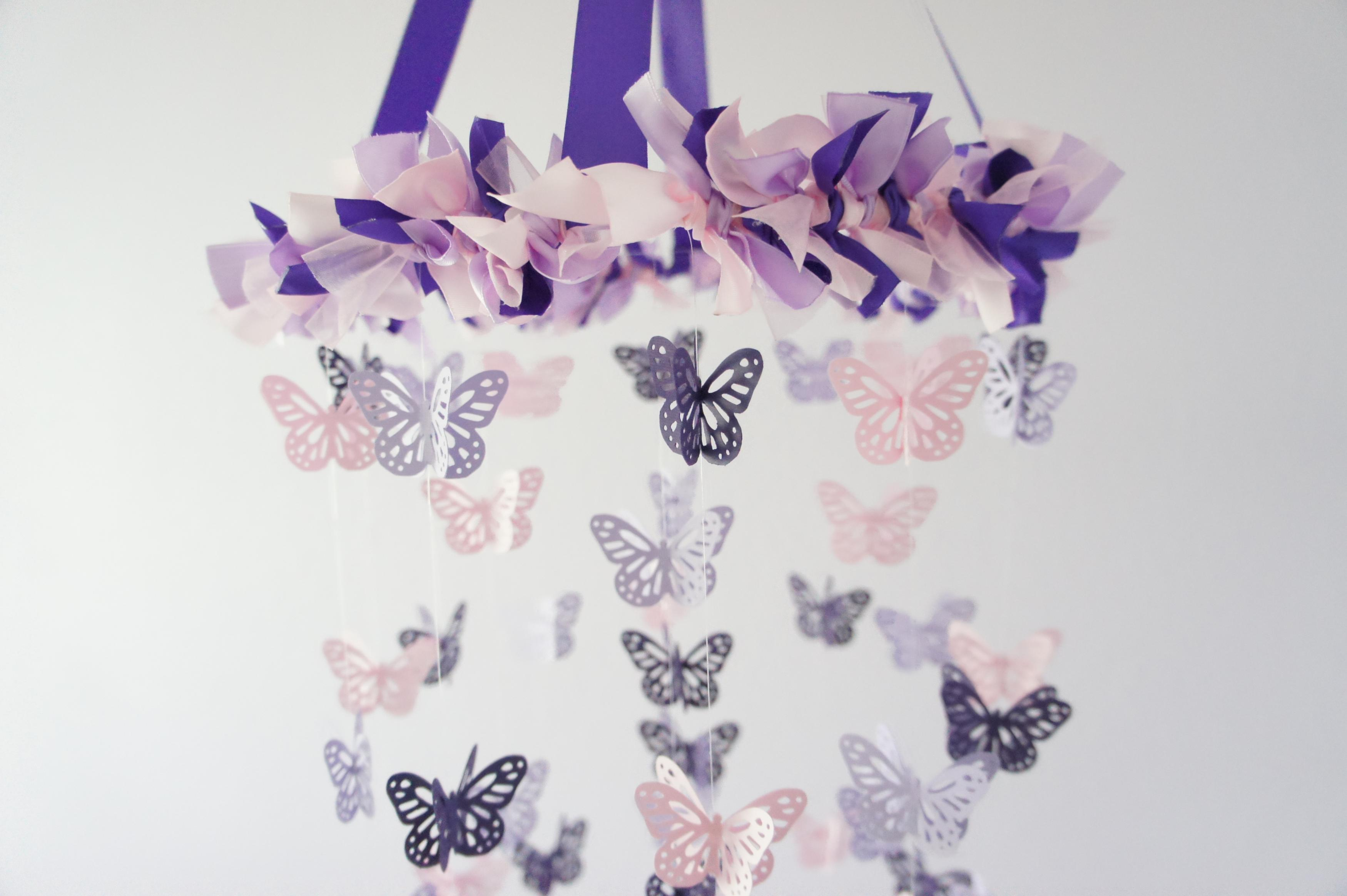 Butterfly mobile in purple lavender pink on luulla for Baby shower decoration butterfly
